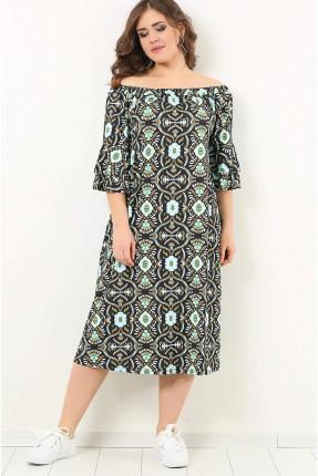 فستان سبور منقوش زخرفة باكمام منخفضة