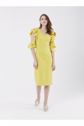 فستان رسمي ياقة v - اصفر