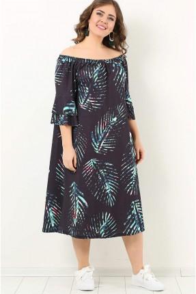 فستان سبور باكمام منخفضة منقوش واسع