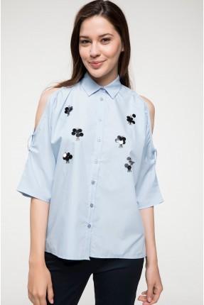 قميص نسائي مفتوح الاكتاف - ازرق
