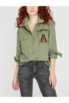 قميص نسائي بجيوب جانبية سبور - زيتي