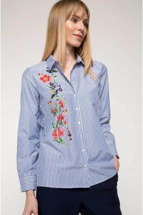 قميص نسائي مطرز بورد - ازرق