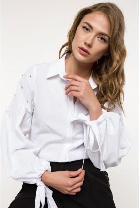 قميص نسائي باكمام عريضة - ابيض