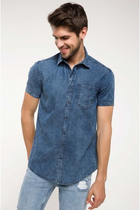 قميص رجالي جينز - ازرق