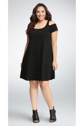 فستان سبور قصير مع فتحات على الاكتاف