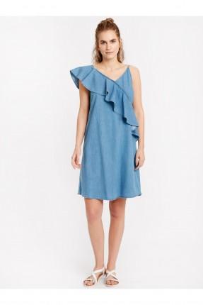 فستان سبور جينز مع كشكش