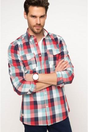 قميص رجالي كارو مع جيوب - احمر