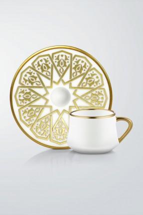طقم قهوة 6 اشخاص - مزخرف ذهبي