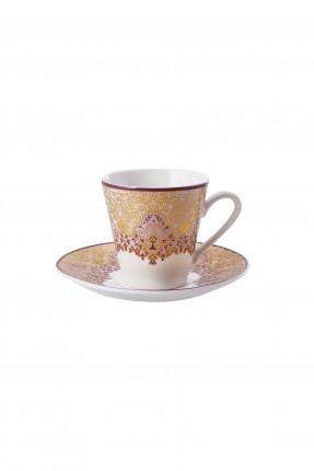 طقم فنجان قهوة / 6 اشخاص / - مزخرف ذهبي