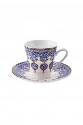 طقم فنجان قهوة / 6 اشخاص / - مزخرف ازرق