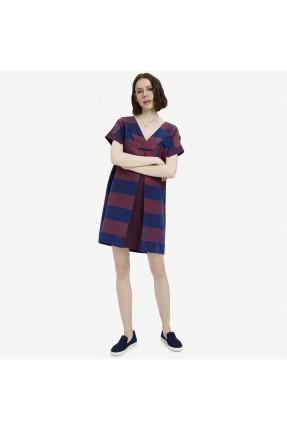فستان سبور مقلم نصف الكم قصير