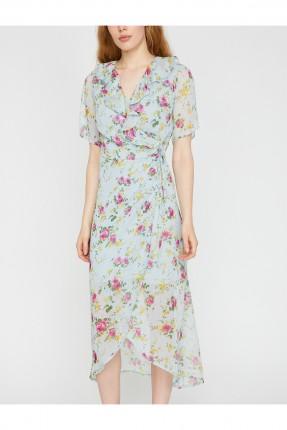 فستان سبور مورد مزركش من الامام
