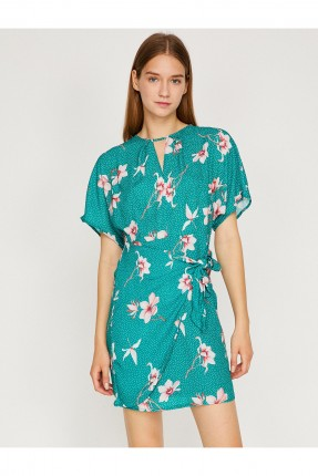 فستان سبور منقوش معقود من الجانب - اخضر