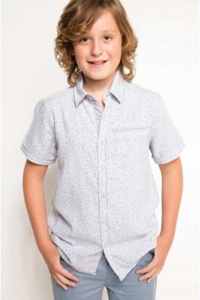 قميص اطفال ولادي - رمادي