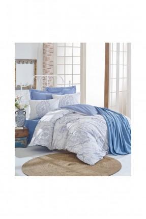 طقم غطاء سرير مزدوج مع بطانية - ازرق