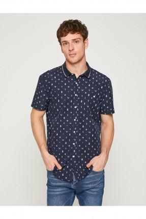 قميص رجالي نصف الكم منقوش - ازرق داكن