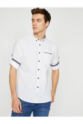 قميص رجالي منقط بجيب جانبي سبور شيك