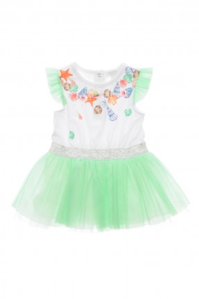 فستان بيبي بناتي مع تول - اخضر