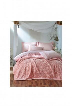 طقم غطاء سرير مزدوج مع بطانية منقش  - وردي