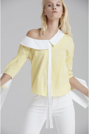 قميص نسائي بكتف عاري - اصفر