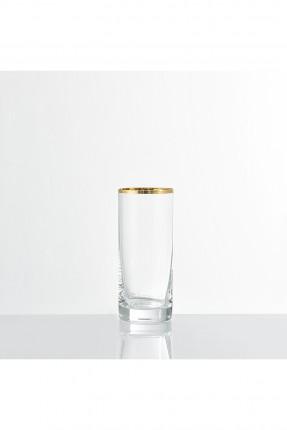 كاسات زجاج بكنار ذهبي للشرب / 6 قطع /