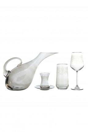 طقم  زجاج مزخرف للشرب 49 قطعة