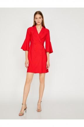 فستان رسمي بازرار مزدوجة قصير - احمر