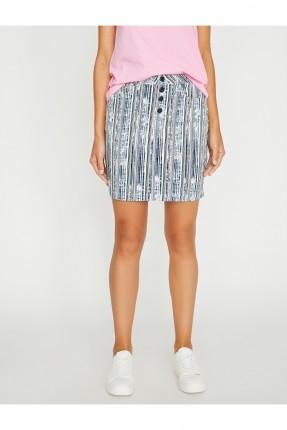 تنورة قصيرة مقلمة مع ازرار سبور