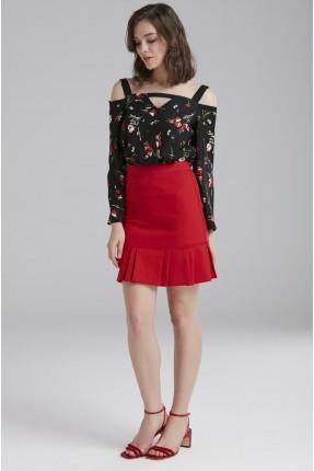 تنورة قصيرة مع كشكش - احمر