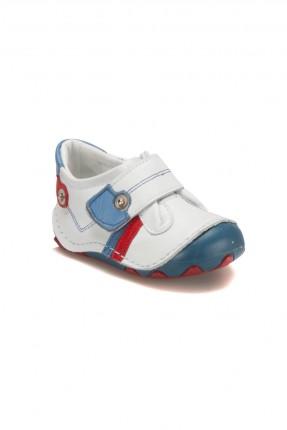 حذاء بيبي ولادي جلد - ابيض