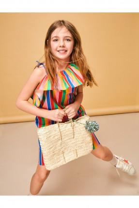 فستان اطفال بناتي مقلم ملون سبور