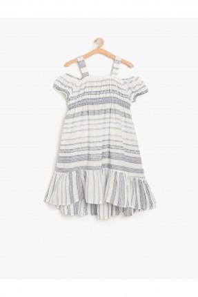 فستان اطفال بناتي مقلم باكتاف مفرغة