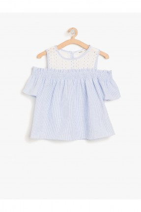 بلوز اطفال بناتي باكتاف مفرغة سبور - ازرق