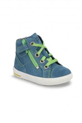 حذاء بيبي ولادي جلد - ازرق