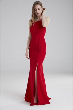 فستان رسمي مع شق جانبي - احمر