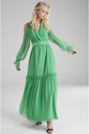 فستان سبور مفتوح الاكمام - اخضر