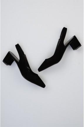 حذاء نسائي مفتوحة من الخلف - اسود