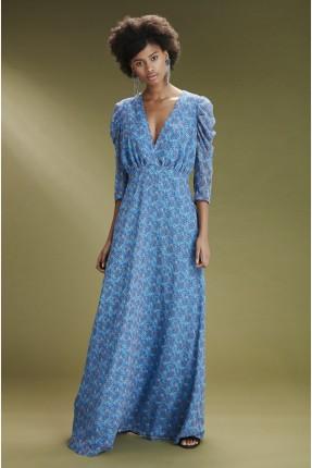 فستان رسمي منقش بياقة v