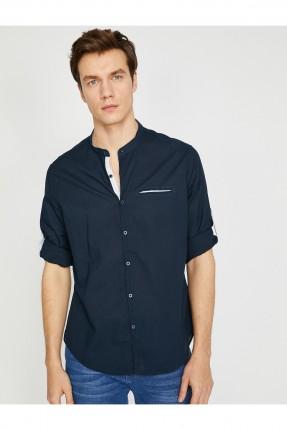 قميص رجالي بياقة مدورة سبور - ازرق داكن