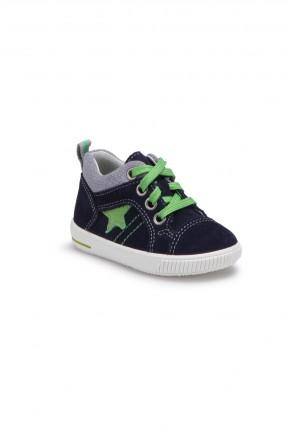 حذاء بيبي ولادي جلد - ازرق داكن