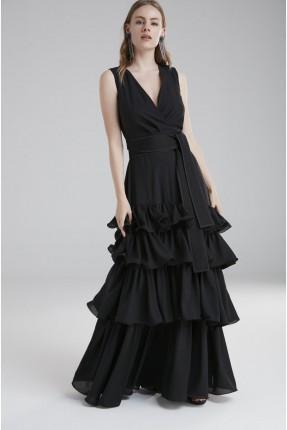 فستان رسمي مع كشكش طبقات - اسود
