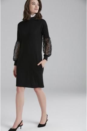 فستان رسمي مع دانتيل على الاكمام - اسود