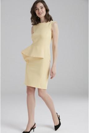 فستان رسمي مع كشكش - اصفر