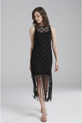 فستان سبور دانتيل مع شراشيب - اسود