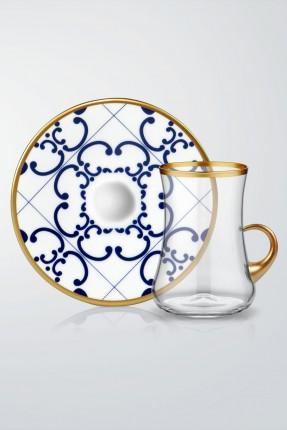 طقم كاسات شاي 6 اشخاص - مزخرف ازرق