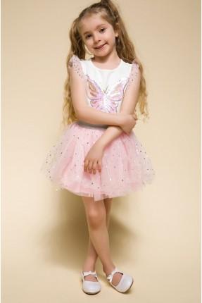 تنورة اطفال بناتي تول - وردي