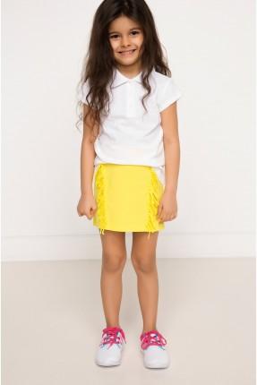 تنورة اطفال بناتي مع كشكش - اصفر