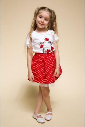 تنورة اطفال بناتي منقطة - احمر