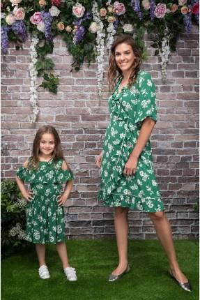 فستان اطفال بناتي منقش مفتوح الاكتاف - اخضر
