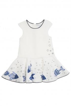 فستان اطفال بناتي منقش سمك - ابيض